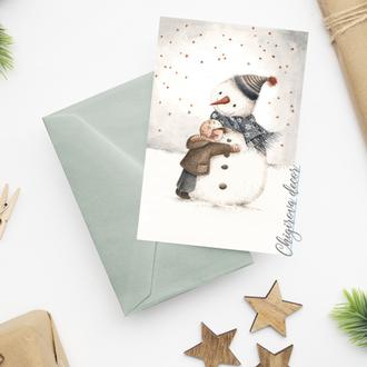"""Новогодняя открытка """"Снеговик"""""""