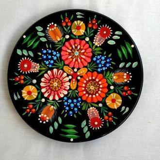 """Декоративная деревянная тарелка с авторской росписью """"Слобожанские мотивы"""". 15 см."""
