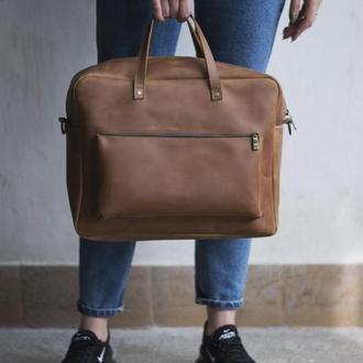 Кожаная сумка мессенджер унисекс - Traveler