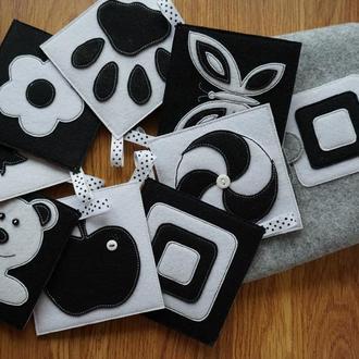 Чёрно-белые карточки из фетра.