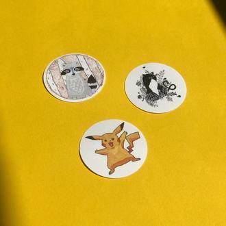 """Набір круглих наклейок """"Чарівні створіння"""""""