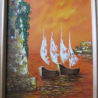 Картина маслом Оранжевый закат
