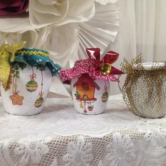 Стеклянная декоративная баночка