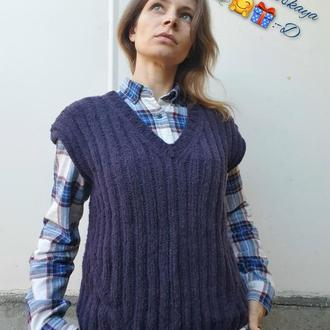 Стильный, вязанный жилет, безрукавка, сине-чернильного цвета, handmade