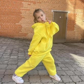 Теплый детский костюм, трикотажный костюм с начесом, детский худи, детский спортивный костюм