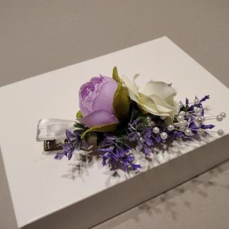 Заколка для волос с цветами,украшение с лавандой для волос, фиолетовая заколка для волос
