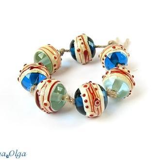 Кластер (бусины лэмпворк синие голубые)