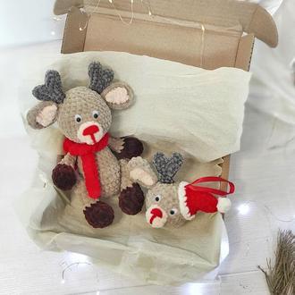 Різдвяний набір. Плюшева іграшка і іграшка на ялинку оленятко