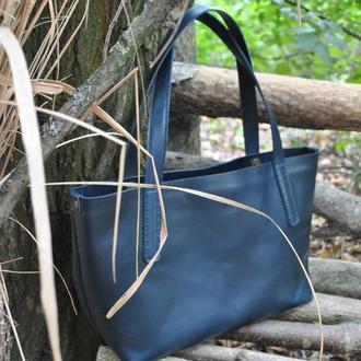 Кожаная сумка на плечо S07-blue