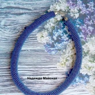 Авторское украшение на шею из бисера жгут-колье Сиреневая бездна