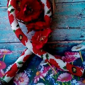Авторское украшение на шею из бисера жгут-колье Маки