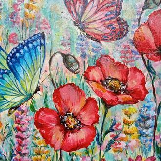 Картина Польові квіти і метелики