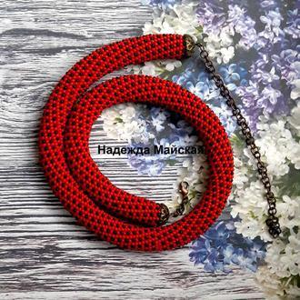 Комплект авторских украшений из бисера Red and Black
