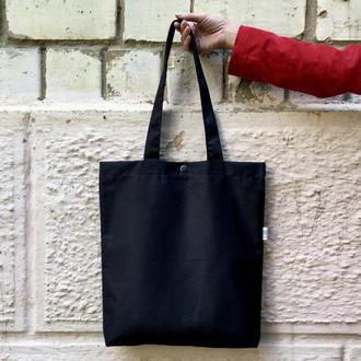 Чёрный шоппер с карманом, плотная эко сумка, сумка для покупок, сумка для шоппинга, торба