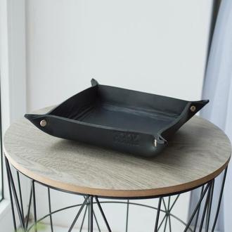 Кожаный лоток органайзер (Черный) Leather Tray