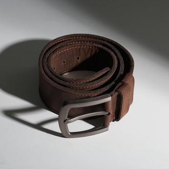 Коричневый кожаный мужской ремень Double Parallel (индивидуальный пошив)