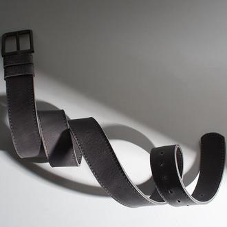 Серый классический кожаный ремень унисекс Double Parallel (индивидуальный пошив)
