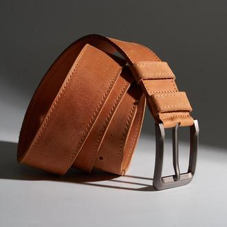 Кожаный ремень унисекс цвета коньяк Double Parallel (классика, минимализм, индивидуальный пошив)