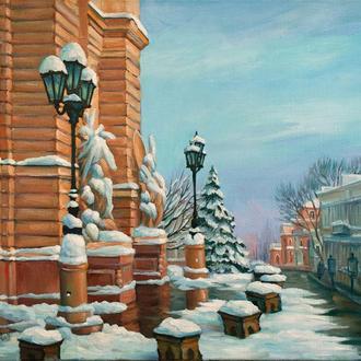 """Картина маслом: """"Оперный театр зимой"""""""