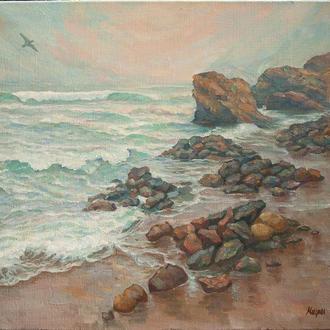 """Картина маслом """"Пляж дельфин"""" 50х60см."""