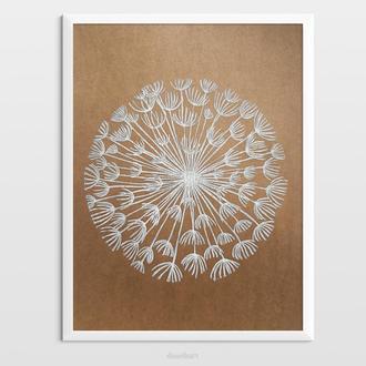 Інтер'єрна картина(гравюра) «Абстрактна кульбаба» в стилі ботаніка