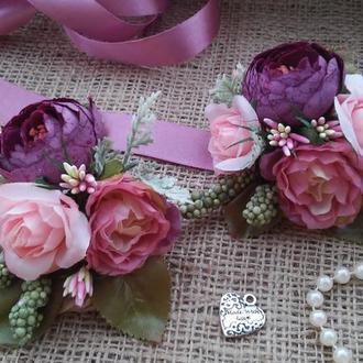 Комплект бутоньєрок Plum Ranunculus Бутоньєрка для свідка Пов'язка з квітами для подружок