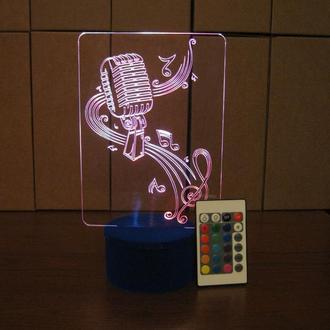 Микрофон и скрипичный ключ, ночник акриловый, светильник, LED лампа, музыка, подарок музыканту