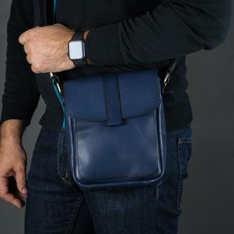 """Мужская кожаная сумка """"Уильям"""", кожа итальянский краст, цвет  синий"""