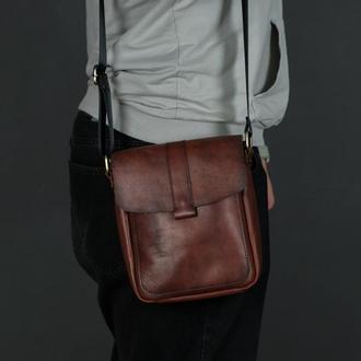 "Мужская кожаная сумка ""Уильям"", кожа итальянский краст, цвет вишня"