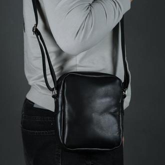 """Чоловіча шкіряна сумка """"Річард"""", шкіра італійський краст, колір чорний"""