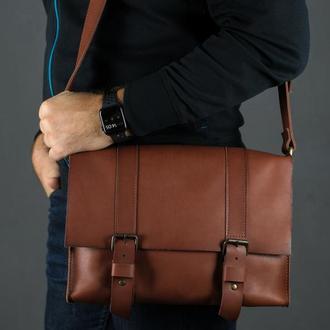 """Мужская кожаная сумка """"Кемерон"""", кожа итальянский краст, цвет коричневый"""