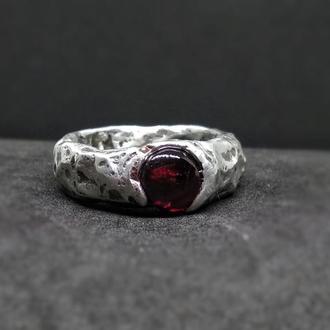 Кольцо Life force, красный гранат, альмандин, олово, медь, серебро