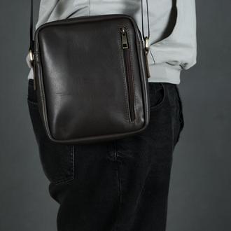 """Мужская кожаная сумка """"Метью"""", кожа итальянский краст, цвет  кофе"""
