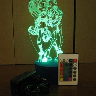 Монстр Хай, ночник акриловый, светильник, LED лампа, игрушка, подарок девочке, монстер хай