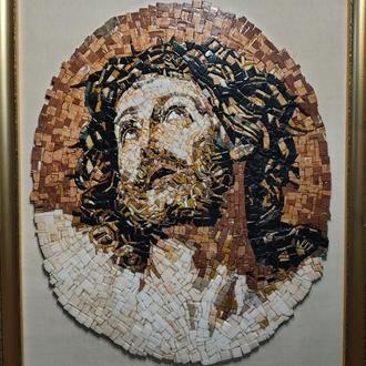 Иисус Христос в терновом венце икона мозаика византийская мрамор, оникс, кварц