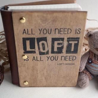 Ежедневник в обложке из натурального дерева Loft