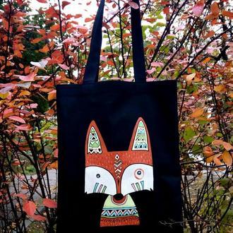 """эко сумка, шоппер из хлопка с  росписью """"Лиса индеец"""""""