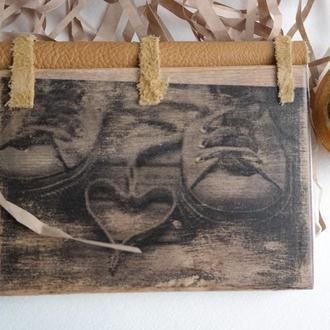 Ежедневник в деревянной обложке Love