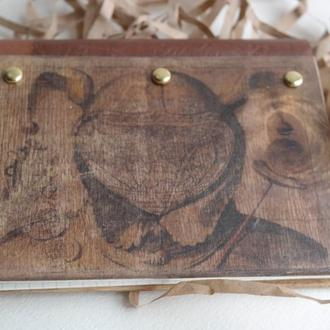 Записная книжка из натурального дерева Карта Стимпанк
