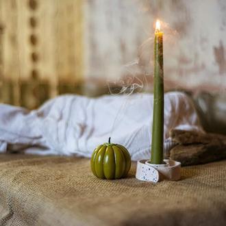 Подарочный комплект   свеча тыква   подсвечник