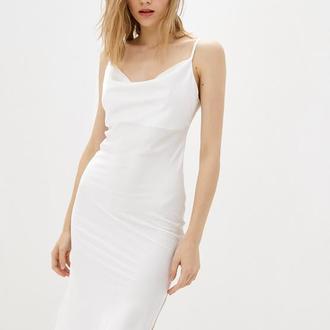 Молочная комбинация - платье с разрезом, молочное платье шелковое