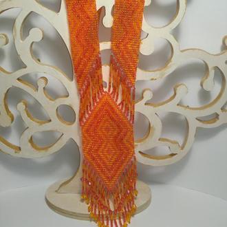 Оранжевый гердан в этно стиле