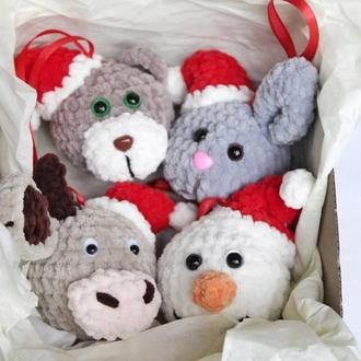 Набір іграшок на ялинку 4 шт ведмедик, сніговик, заєць, бик
