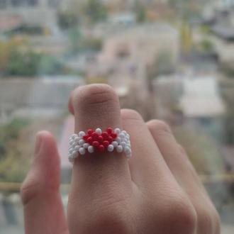 "Кольцо из Чешского бисера ""Сердце"""