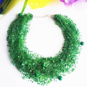 Изумрудное воздушное колье Зеленое ожерелье купить Лучший подарок Красивое колье Зеленое ожерелье