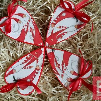 Набор новогодних игрушек Санта сердце