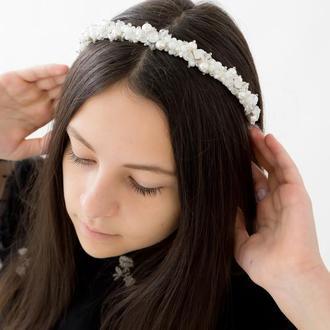 Обруч-ободок для волос, расшит хрусталём и стразами перламутрового цвета, украшения для невесты Ksen