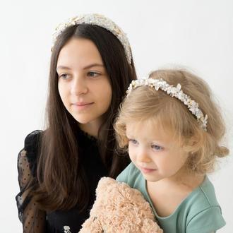 Обручі Family look, кришталевий ободок пудра, обручі білого кольору, парні прикраси Ksenija Vitali