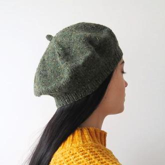 Темно зеленый берет из твида, вязаный берет женский на осень зиму, шапка под пальто