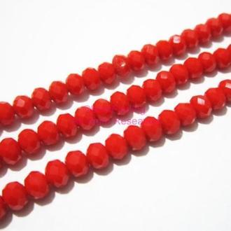 Бусины Хрустальные 4х3мм Красные непрозрачные
